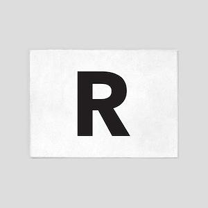Letter R Black 5'x7'Area Rug