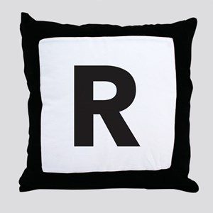 Letter R Black Throw Pillow