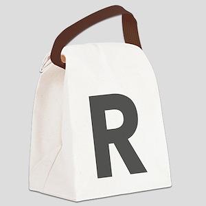 Letter R Dark Gray Canvas Lunch Bag