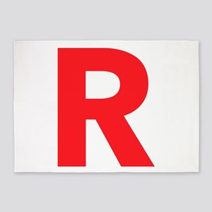 Letter R Red 5'x7'Area Rug