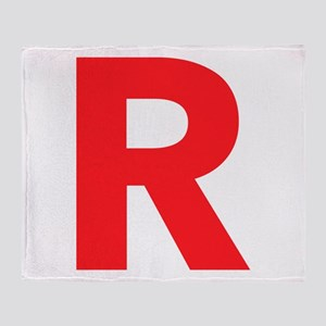 Letter R Red Throw Blanket