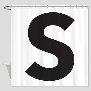 Letter S Black Shower Curtain