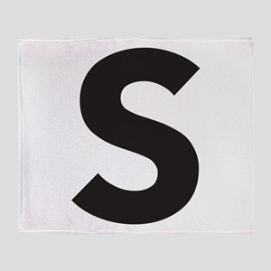 Letter S Black Throw Blanket
