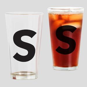 Letter S Black Drinking Glass