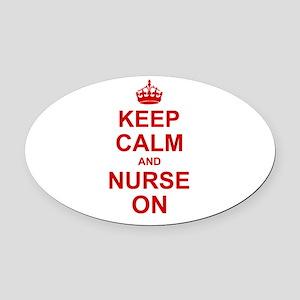 Keep Calm and Nurse on Oval Car Magnet