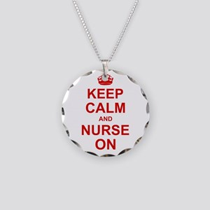 Keep Calm and Nurse on Necklace Circle Charm