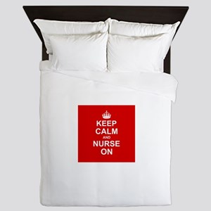 Keep Calm and Nurse on Queen Duvet