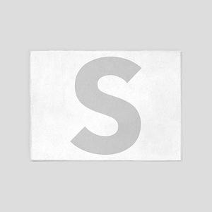 Letter S Light Gray 5'x7'Area Rug