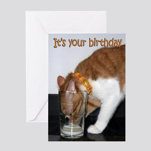 Kitten Drinking From Glass Greeting Card