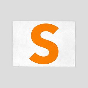 Letter S Orange 5'x7'Area Rug