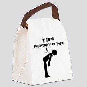 Knife In Back Canvas Lunch Bag