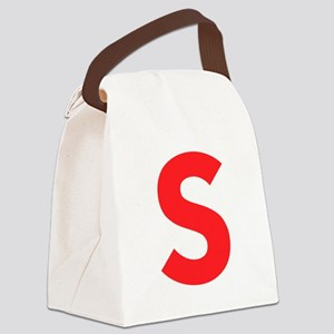 Letter S Red Canvas Lunch Bag