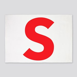 Letter S Red 5'x7'Area Rug