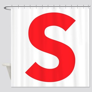 Letter S Red Shower Curtain