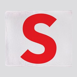 Letter S Red Throw Blanket
