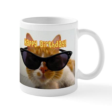 Happy Birthday Cat Wearing Sunglasses Mugs