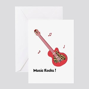 Personalized Red Leopard Guitar Greeting Card