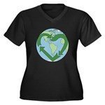 Recycle Earth (Heart) Women's Plus Size V-Neck Dar