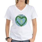 Recycle Earth (Heart) Women's V-Neck T-Shirt