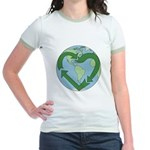 Recycle Earth (Heart) Jr. Ringer T-Shirt