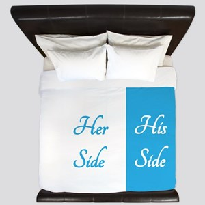 #2 BLUE HER SIDE\HIS SIDE King Duvet