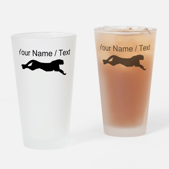 Custom Cheetah Silhouette Drinking Glass