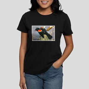 Red-Winged Blackbird Bird (Front) Women's Dark T-S
