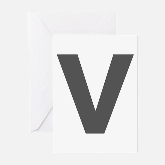 Letter V Dark Gray Greeting Cards