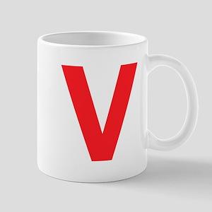Letter V Red Mugs