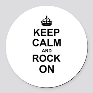 Keep Calm and Rock on Round Car Magnet