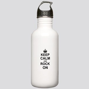 Keep Calm and Rock on Sports Water Bottle