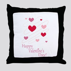 Happy Valentines Day Hearts Throw Pillow