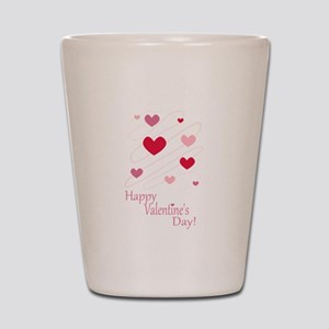 Happy Valentines Day Hearts Shot Glass