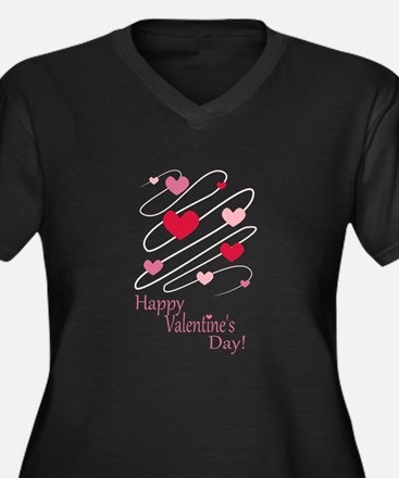 happy valentines day hearts plus size t shirt