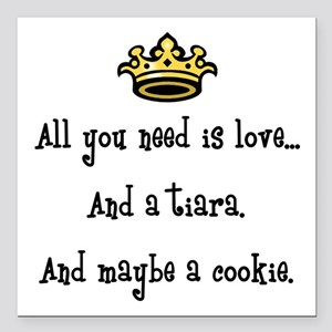 """Love and a Cookie Square Car Magnet 3"""" x 3"""""""