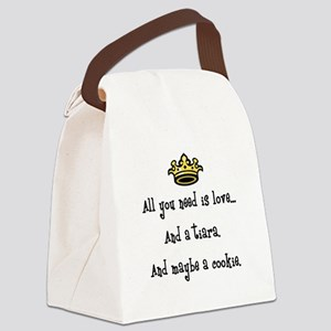 Love and a Cookie Canvas Lunch Bag