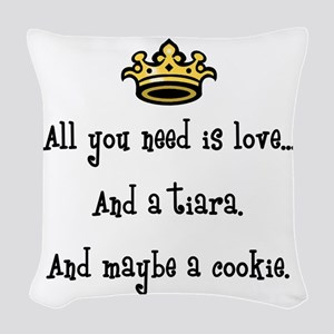 Love And A Cookie Woven Throw Pillow