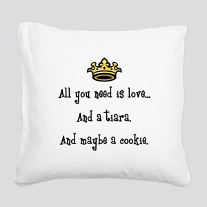Love and a Cookie Square Canvas Pillow