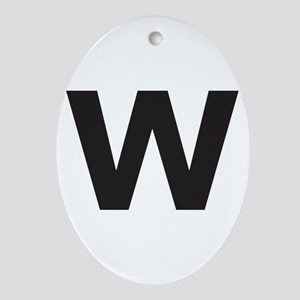 Letter W Black Ornament (Oval)