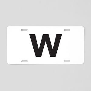 Letter W Black Aluminum License Plate