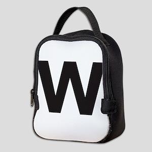 Letter W Black Neoprene Lunch Bag