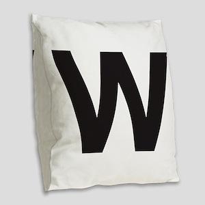 Letter W Black Burlap Throw Pillow