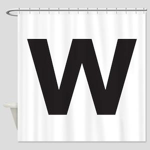 Letter W Black Shower Curtain