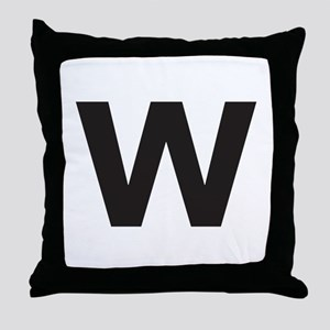 Letter W Black Throw Pillow