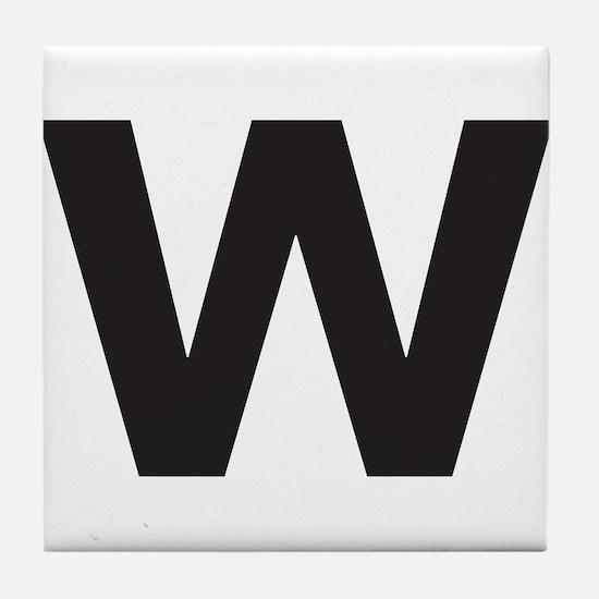 Letter W Black Tile Coaster