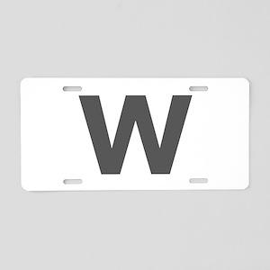Letter W Dark Gray Aluminum License Plate