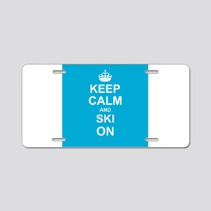 Keep Calm and Ski on Aluminum License Plate