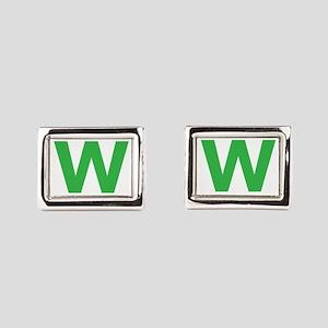 Letter W Green Cufflinks