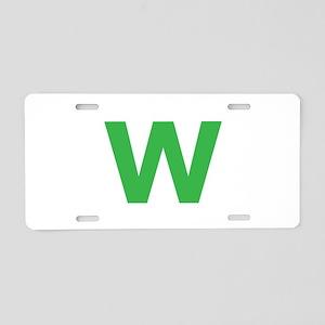Letter W Green Aluminum License Plate