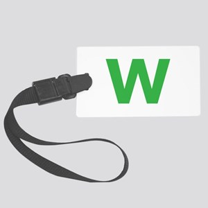Letter W Green Luggage Tag